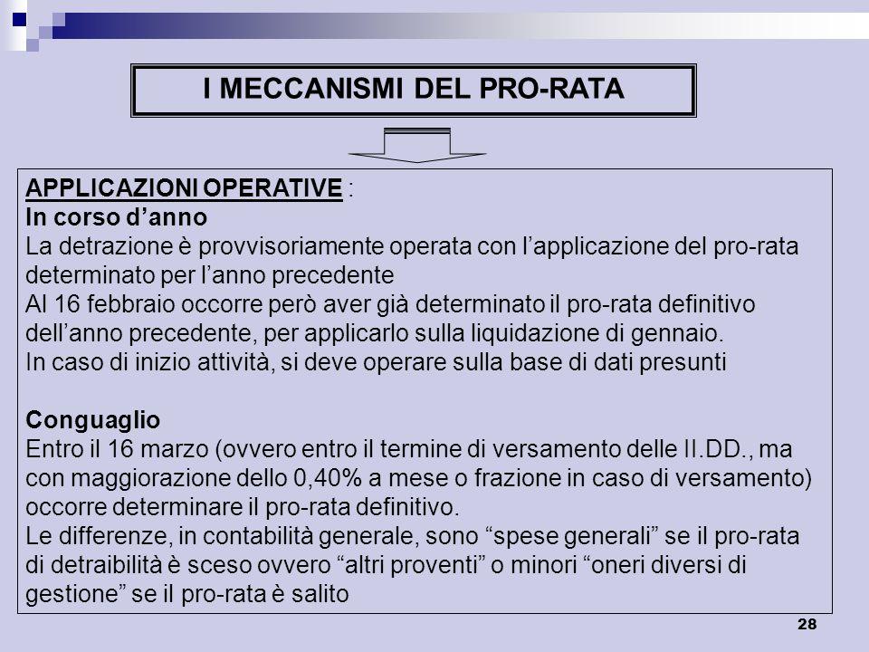 28 I MECCANISMI DEL PRO-RATA APPLICAZIONI OPERATIVE : In corso danno La detrazione è provvisoriamente operata con lapplicazione del pro-rata determina