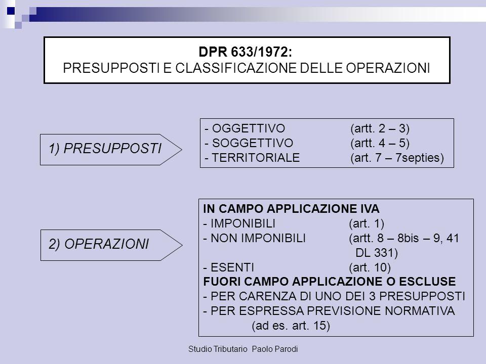 Studio Tributario Paolo Parodi DPR 633/1972: PRESUPPOSTI E CLASSIFICAZIONE DELLE OPERAZIONI 1) PRESUPPOSTI - OGGETTIVO (artt. 2 – 3) - SOGGETTIVO(artt