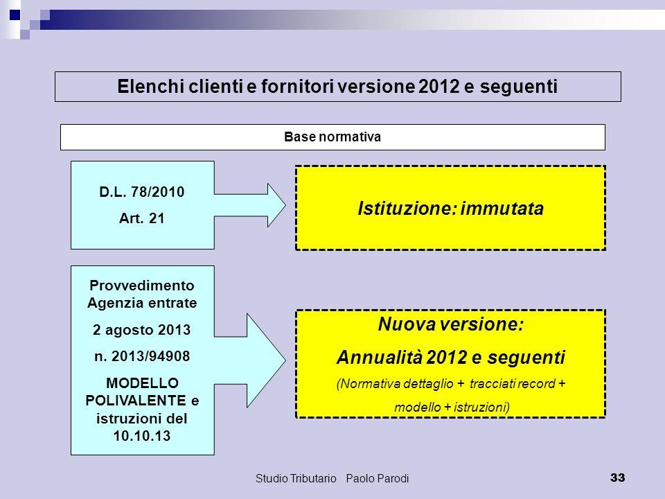 Studio Tributario Paolo Parodi 33 Elenchi clienti e fornitori versione 2012 e seguenti Base normativa Nuova versione: Annualità 2012 e seguenti (Norma