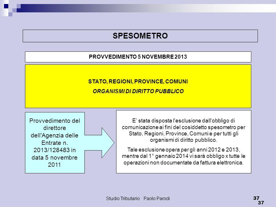 Studio Tributario Paolo Parodi 37 SPESOMETRO PROVVEDIMENTO 5 NOVEMBRE 2013 STATO, REGIONI, PROVINCE, COMUNI ORGANISMI DI DIRITTO PUBBLICO Provvediment