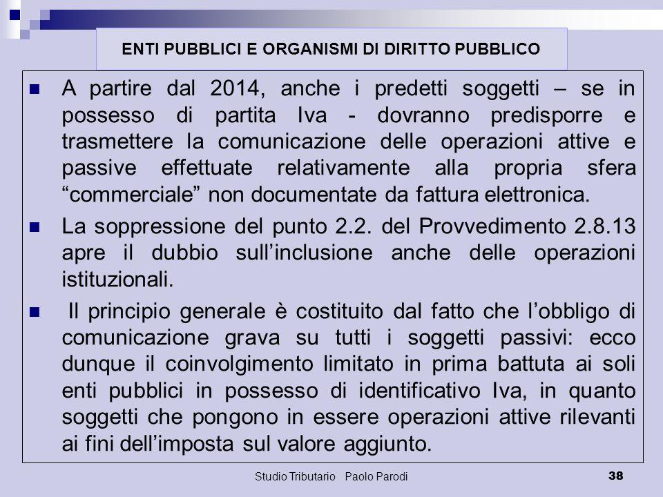 Studio Tributario Paolo Parodi 38 A partire dal 2014, anche i predetti soggetti – se in possesso di partita Iva - dovranno predisporre e trasmettere l