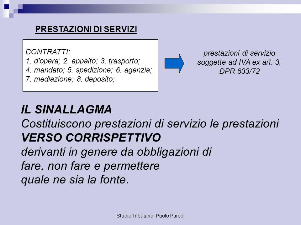 Studio Tributario Paolo Parodi CONTRATTI: 1. dopera; 2. appalto; 3. trasporto; 4. mandato; 5. spedizione; 6. agenzia; 7. mediazione; 8. deposito; pres