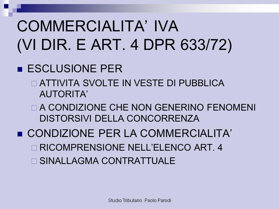 Studio Tributario Paolo Parodi COMMERCIALITA IVA (VI DIR. E ART. 4 DPR 633/72) ESCLUSIONE PER ATTIVITA SVOLTE IN VESTE DI PUBBLICA AUTORITA A CONDIZIO