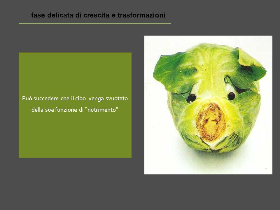 Può succedere che il cibo venga svuotato della sua funzione di nutrimento fase delicata di crescita e trasformazioni