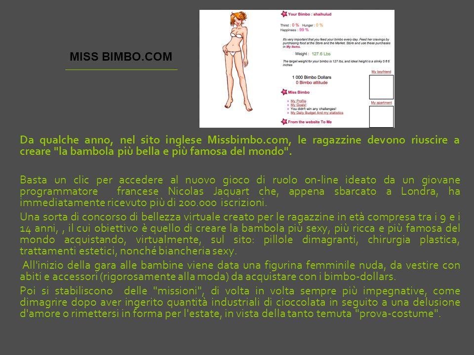Da qualche anno, nel sito inglese Missbimbo.com, le ragazzine devono riuscire a creare