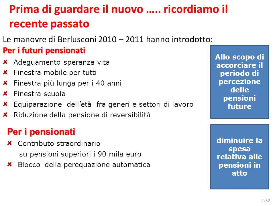 2/52 Prima di guardare il nuovo ….. ricordiamo il recente passato Le manovre di Berlusconi 2010 – 2011 hanno introdotto: Per i futuri pensionati Adegu