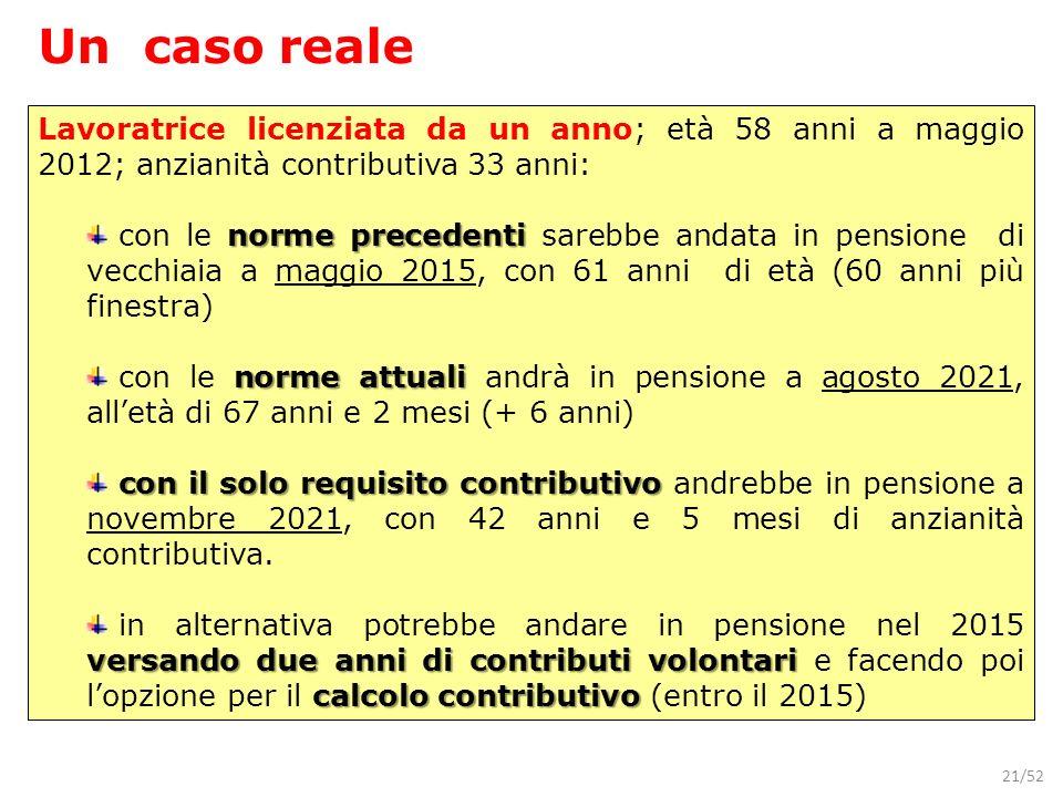21/52 Un caso reale Lavoratrice licenziata da un anno; età 58 anni a maggio 2012; anzianità contributiva 33 anni: norme precedenti con le norme preced
