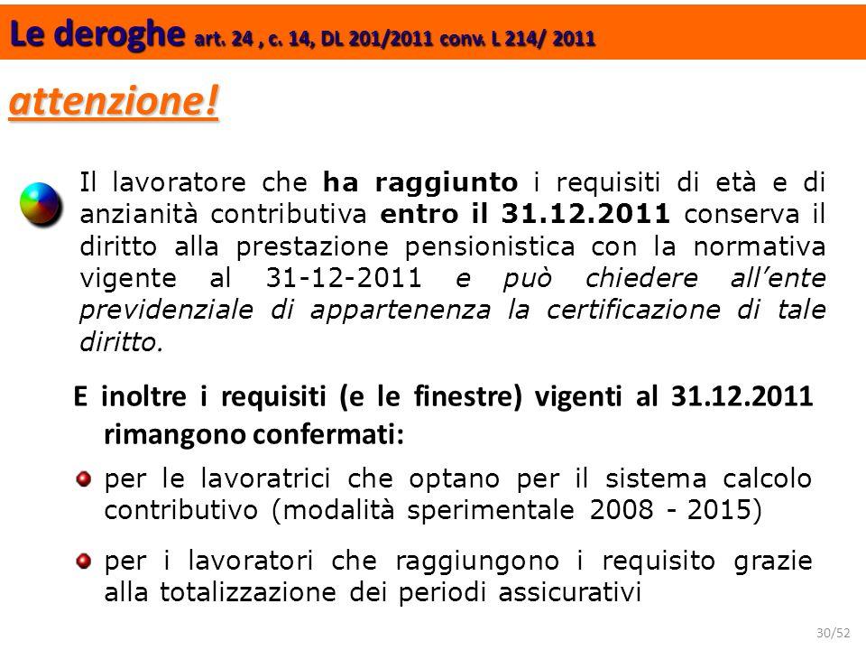 30/52 Le deroghe art. 24, c. 14, DL 201/2011 conv. L 214/ 2011 attenzione! E inoltre i requisiti (e le finestre) vigenti al 31.12.2011 rimangono confe