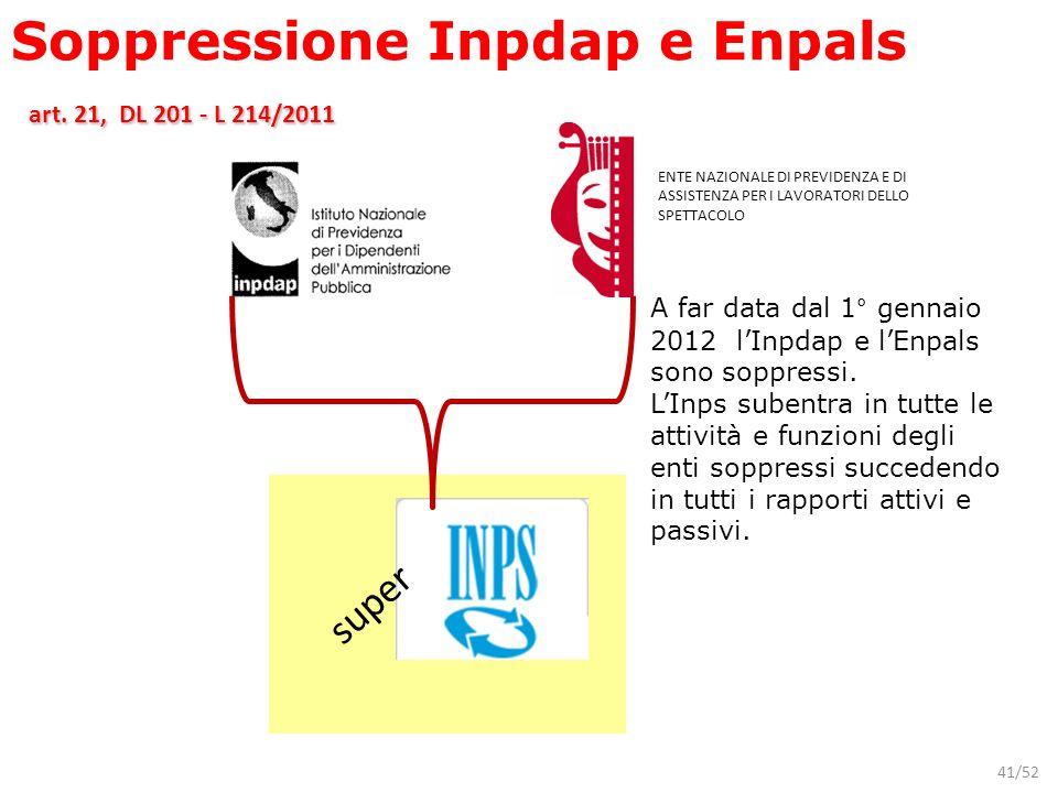 41/52 ENTE NAZIONALE DI PREVIDENZA E DI ASSISTENZA PER I LAVORATORI DELLO SPETTACOLO A far data dal 1° gennaio 2012 lInpdap e lEnpals sono soppressi.