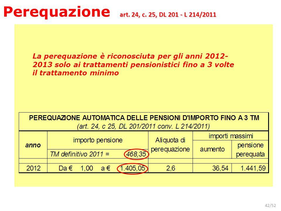 42/52 La perequazione è riconosciuta per gli anni 2012- 2013 solo ai trattamenti pensionistici fino a 3 volte il trattamento minimo art. 24, c. 25, DL
