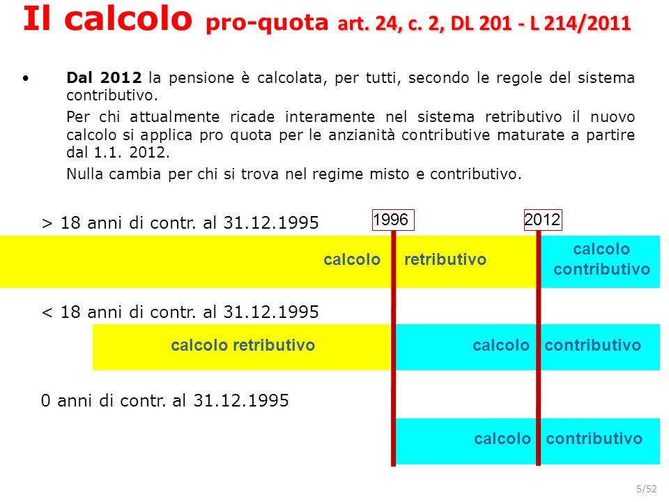 5/52 0 anni di contr. al 31.12.1995 calcolo contributivo 19962012 > 18 anni di contr. al 31.12.1995 calcolo retributivo < 18 anni di contr. al 31.12.1