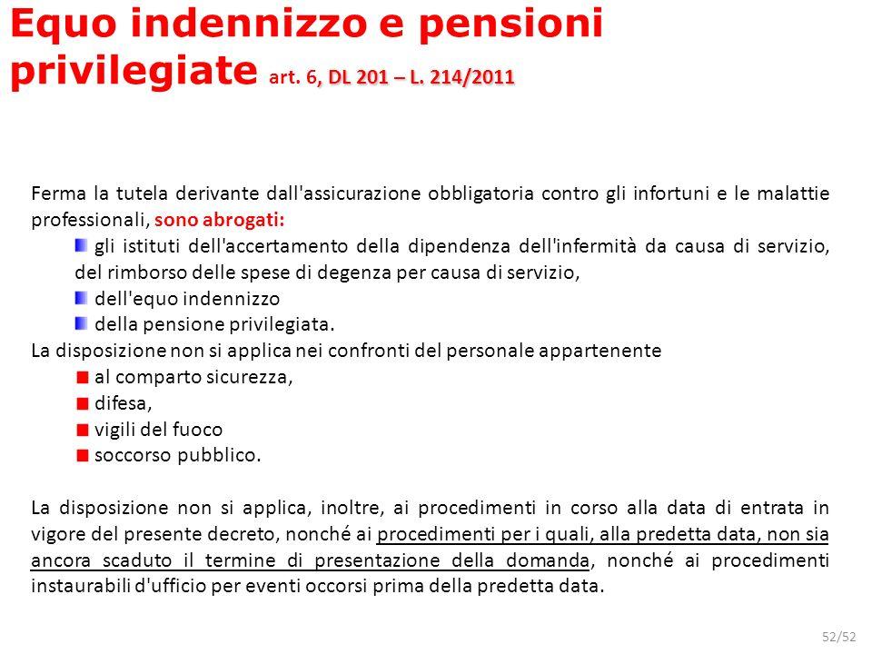 52/52, DL 201 – L. 214/2011 Equo indennizzo e pensioni privilegiate art. 6, DL 201 – L. 214/2011 Ferma la tutela derivante dall'assicurazione obbligat