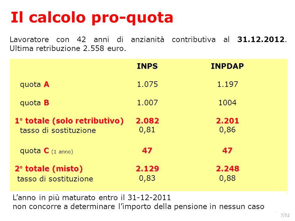 7/52 Lavoratore con 42 anni di anzianità contributiva al 31.12.2012. Ultima retribuzione 2.558 euro. INPSINPDAP A quota A1.0751.197 B quota B1.0071004