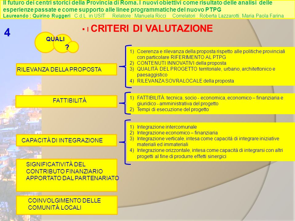 I CRITERI DI VALUTAZIONE 4 QUALI .