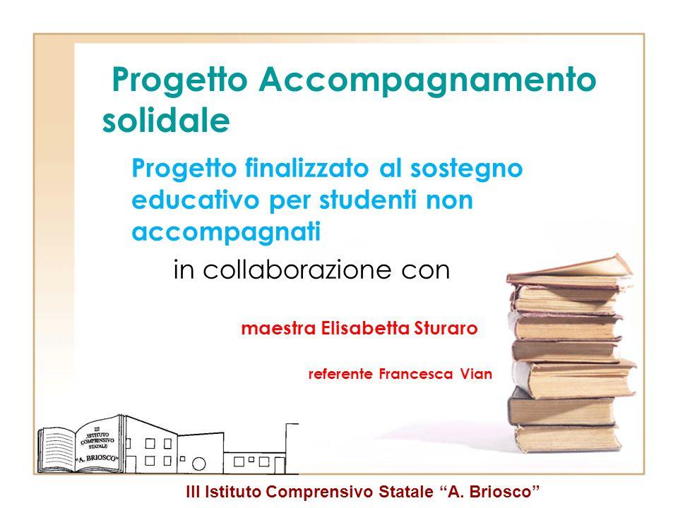 III Istituto Comprensivo Statale A. Briosco Progetto Accompagnamento solidale Progetto finalizzato al sostegno educativo per studenti non accompagnati