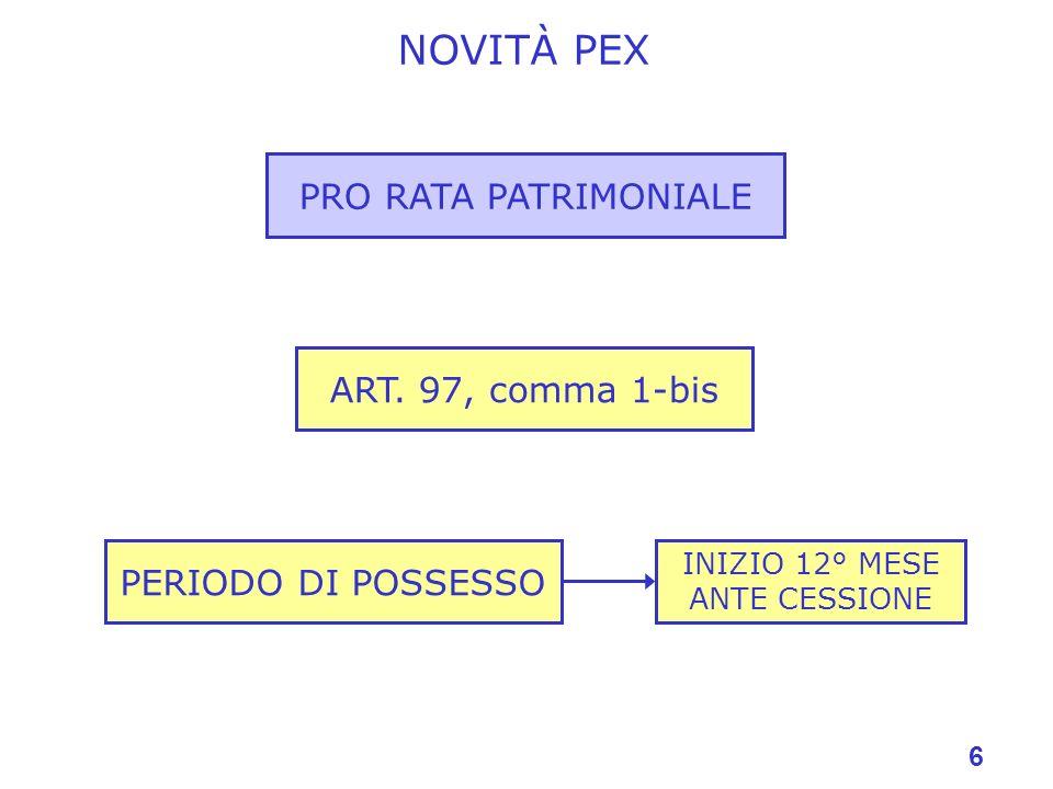 6 NOVITÀ PEX PRO RATA PATRIMONIALE ART. 97, comma 1-bis PERIODO DI POSSESSO INIZIO 12° MESE ANTE CESSIONE