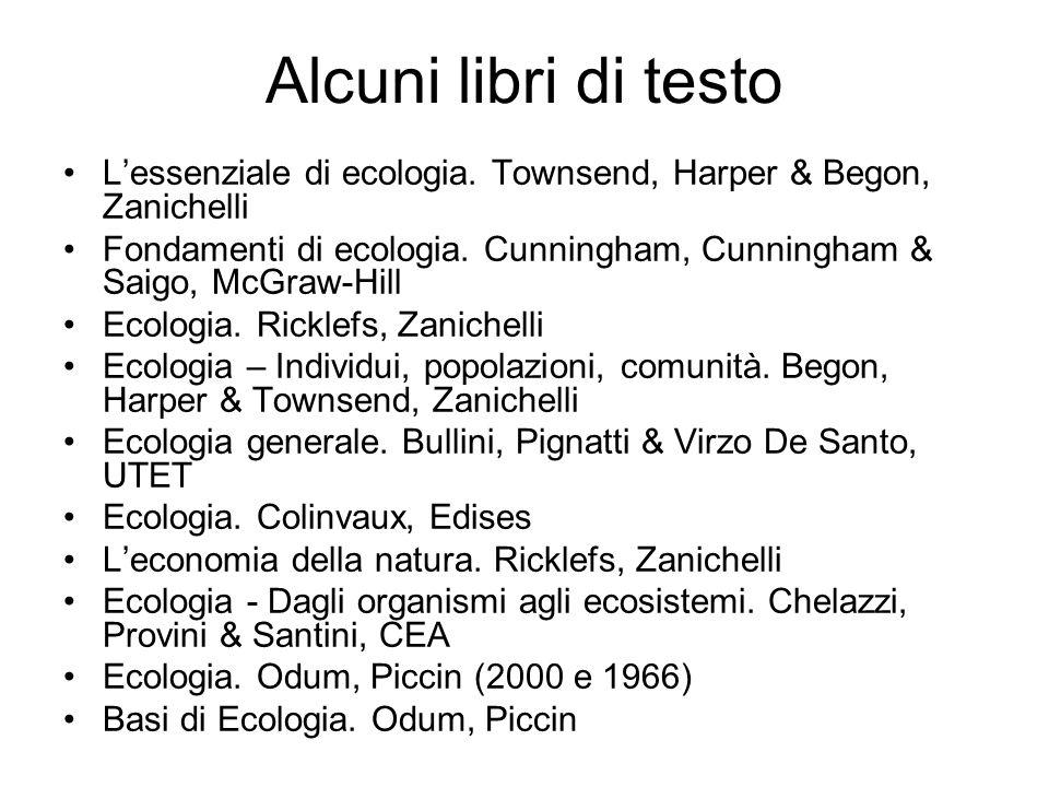Alcuni libri di testo Lessenziale di ecologia.
