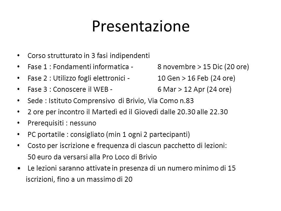 Presentazione Corso strutturato in 3 fasi indipendenti Fase 1 : Fondamenti informatica - 8 novembre > 15 Dic (20 ore) Fase 2 : Utilizzo fogli elettron