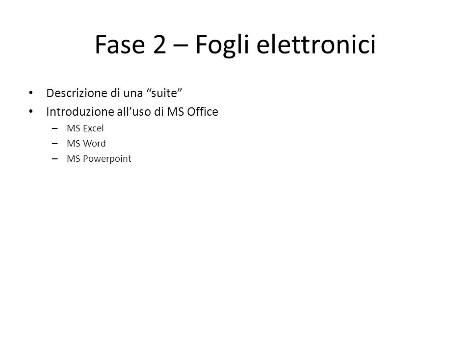Fase 2 – Fogli elettronici Descrizione di una suite Introduzione alluso di MS Office – MS Excel – MS Word – MS Powerpoint