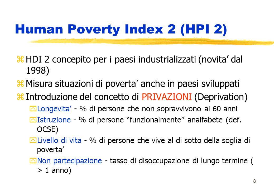 8 Human Poverty Index 2 (HPI 2) zHDI 2 concepito per i paesi industrializzati (novita dal 1998) zMisura situazioni di poverta anche in paesi sviluppati zIntroduzione del concetto di PRIVAZIONI (Deprivation) yLongevita - % di persone che non sopravvivono ai 60 anni yIstruzione - % di persone funzionalmente analfabete (def.