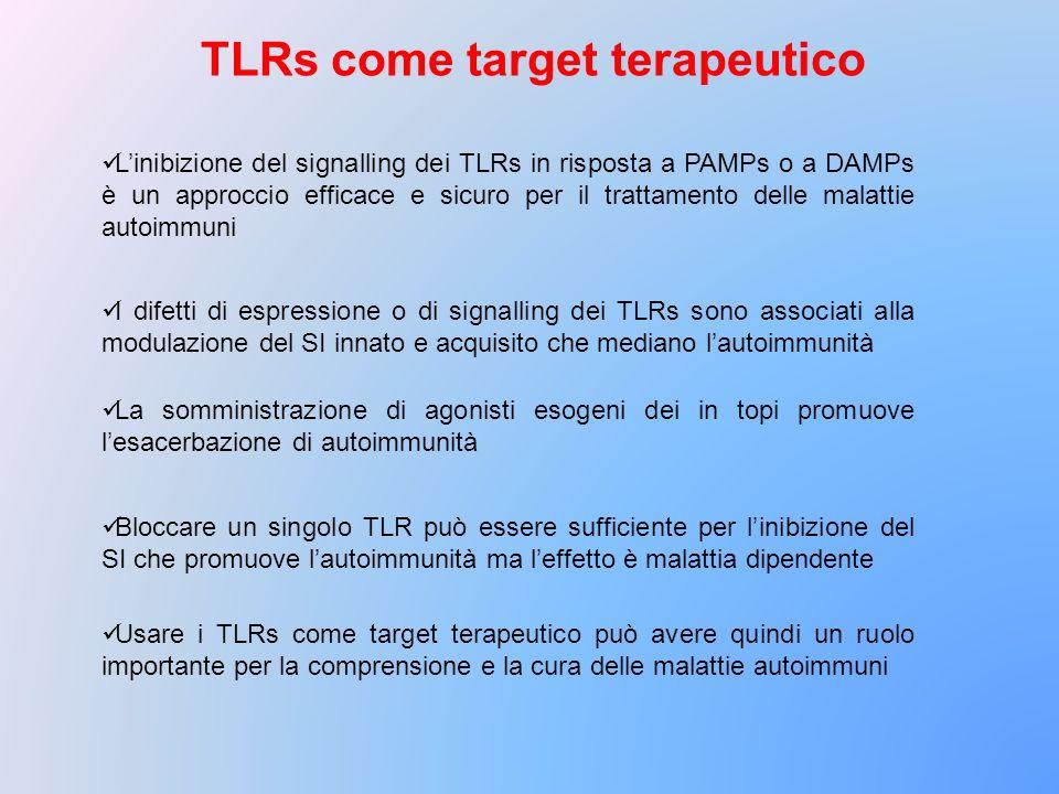 TLRs come target terapeutico Linibizione del signalling dei TLRs in risposta a PAMPs o a DAMPs è un approccio efficace e sicuro per il trattamento del