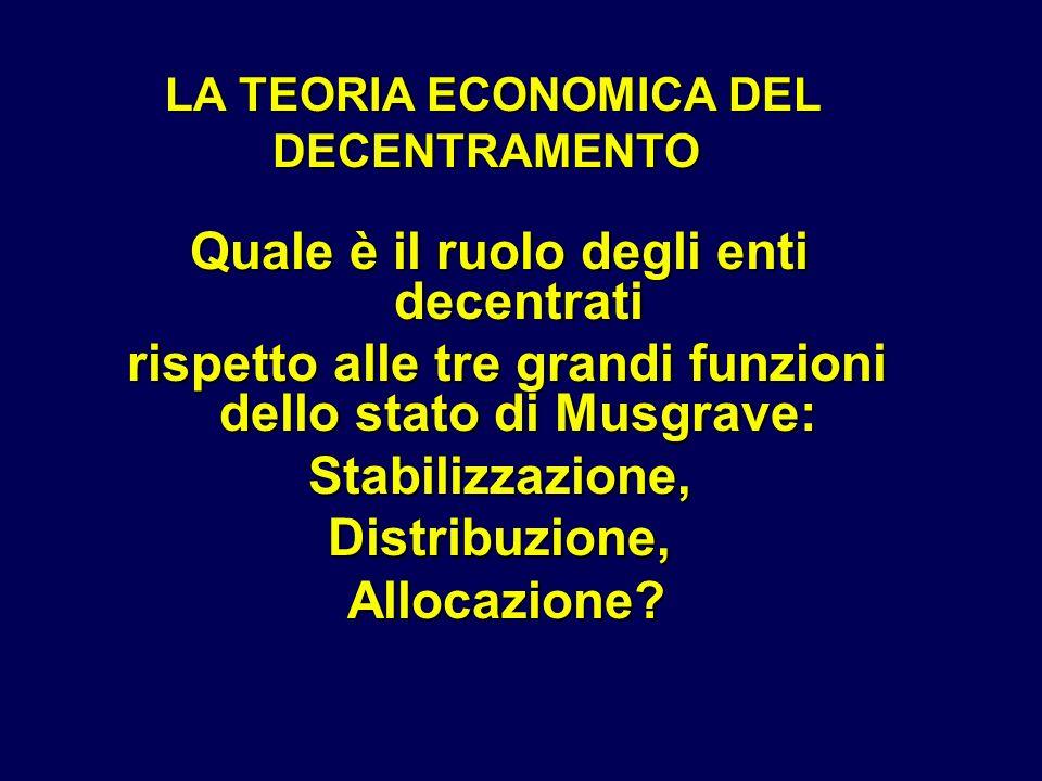 LA TEORIA ECONOMICA DEL DECENTRAMENTO LA TEORIA ECONOMICA DEL DECENTRAMENTO Quale è il ruolo degli enti decentrati rispetto alle tre grandi funzioni d