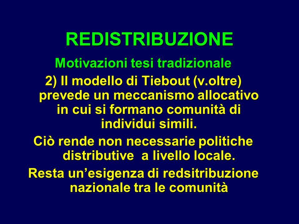 Motivazioni tesi tradizionale 2) Il modello di Tiebout (v.oltre) prevede un meccanismo allocativo in cui si formano comunità di individui simili. Ciò