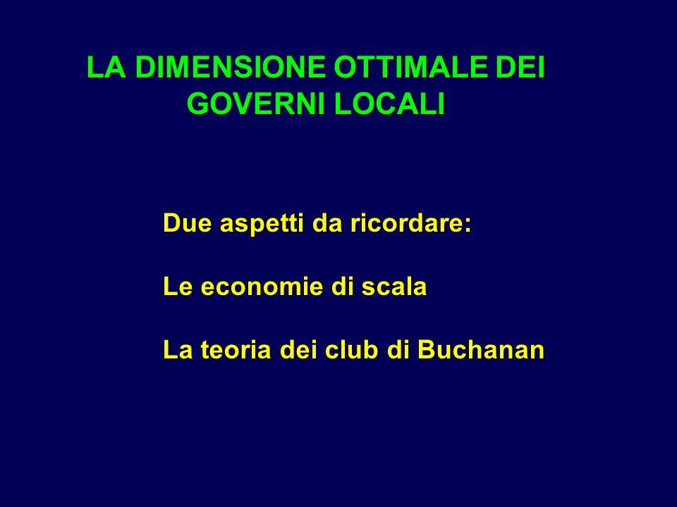 LA DIMENSIONE OTTIMALE DEI GOVERNI LOCALI Due aspetti da ricordare: Le economie di scala La teoria dei club di Buchanan