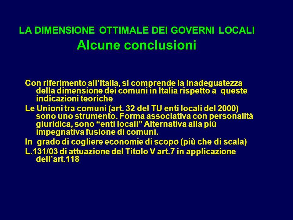 LA DIMENSIONE OTTIMALE DEI GOVERNI LOCALI Alcune conclusioni Con riferimento allItalia, si comprende la inadeguatezza della dimensione dei comuni in Italia rispetto a queste indicazioni teoriche Le Unioni tra comuni (art.