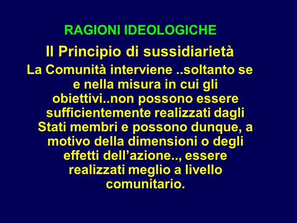 RAGIONI IDEOLOGICHE RAGIONI IDEOLOGICHE Il Principio di sussidiarietà La Comunità interviene..soltanto se e nella misura in cui gli obiettivi..non possono essere sufficientemente realizzati dagli Stati membri e possono dunque, a motivo della dimensioni o degli effetti dellazione.., essere realizzati meglio a livello comunitario.