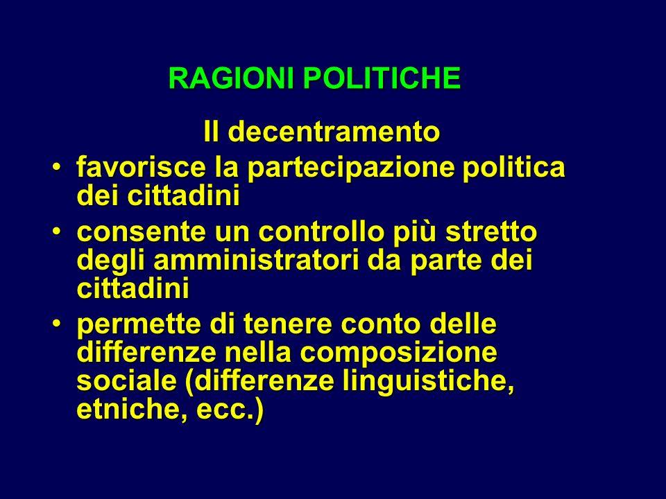 RAGIONI POLITICHE RAGIONI POLITICHE Il decentramento favorisce la partecipazione politica dei cittadinifavorisce la partecipazione politica dei cittad