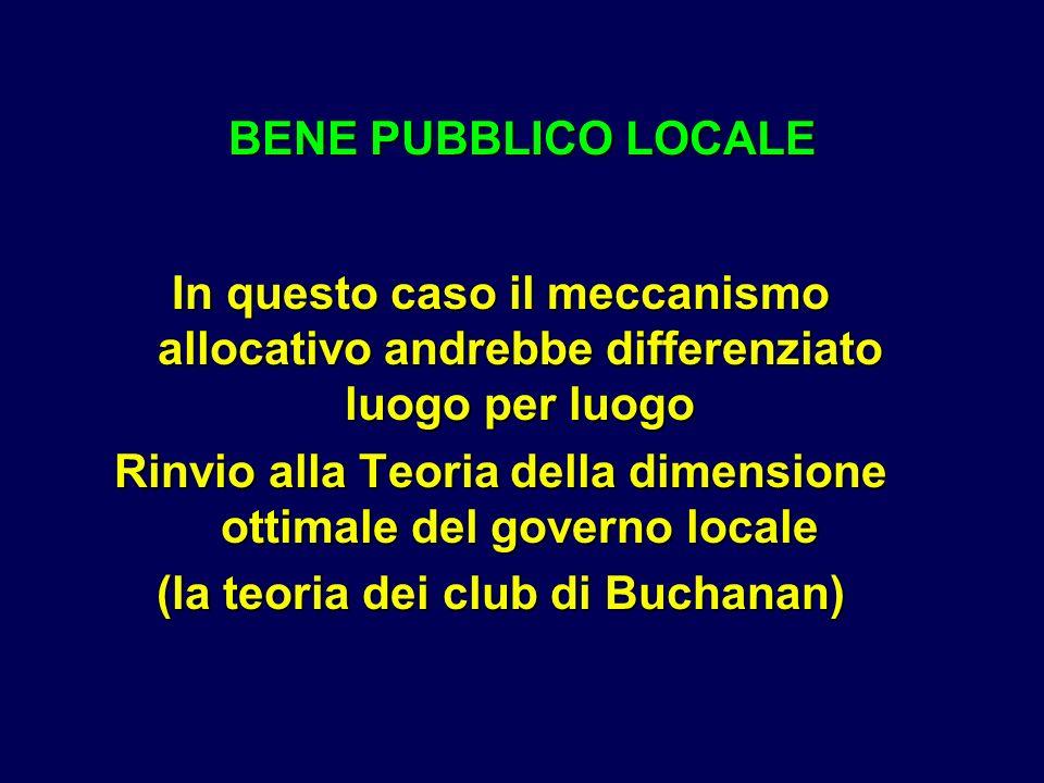 In questo caso il meccanismo allocativo andrebbe differenziato luogo per luogo Rinvio alla Teoria della dimensione ottimale del governo locale (la teoria dei club di Buchanan) BENE PUBBLICO LOCALE