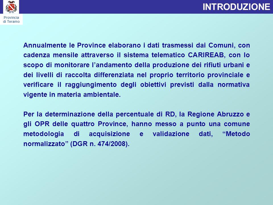 LA RACCOLTA DIFFERENZIATA PER COMPRENSORIO Provincia di Teramo Comune Superficie (Kmq) Abitanti RUI (kg/a) RD (kg/a) Produzione RU (kg/a) % RD RU pro-capite (Kg/ab/a) RU pro-capite (Kg/ab/g) RD (Kg/ab/a) Basciano18,602.457646.711309.585956.29633,91%389,211,07126,00 Campli73,007.5223.406.599209.7353.616.3345,28%480,771,3227,88 Canzano16,001.973178.270366.249544.51968,84%275,990,76185,63 Castel Castagna17,7353592.23051.090143.32052,04%267,890,7395,50 Castellalto36,007.4741.130.6001.844.2392.974.83962,87%398,031,09246,75 Castelli49,781.229406.11234.630440.7428,46%358,620,9828,18 Cellino A.44,002.658775.50245.369820.8715,17%308,830,8517,07 Cermignano26,151.802591.22034.060625.2805,38%346,990,9518,90 Colledara19,862.241880.390126.9601.007.35013,67%449,511,2356,65 Cortino62,72709393.45222.806416.2584,96%587,111,6132,17 Crognaleto124,541.462591.25523.350614.6053,78%420,391,1515,97 Fano Adriano34,96419170.78411.910182.6946,52%436,021,1928,42 Isola del Gran Sasso83,694.9931.744.050243.7291.987.77914,75%398,111,0948,81 Montorio al Vomano53,498.3253.532.920363.4393.896.3599,91%468,031,2843,66 Penna S.