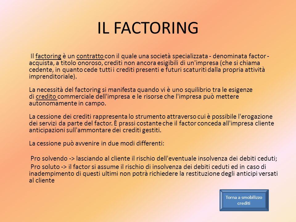 IL FACTORING Il factoring è un contratto con il quale una società specializzata - denominata factor - acquista, a titolo onoroso, crediti non ancora e