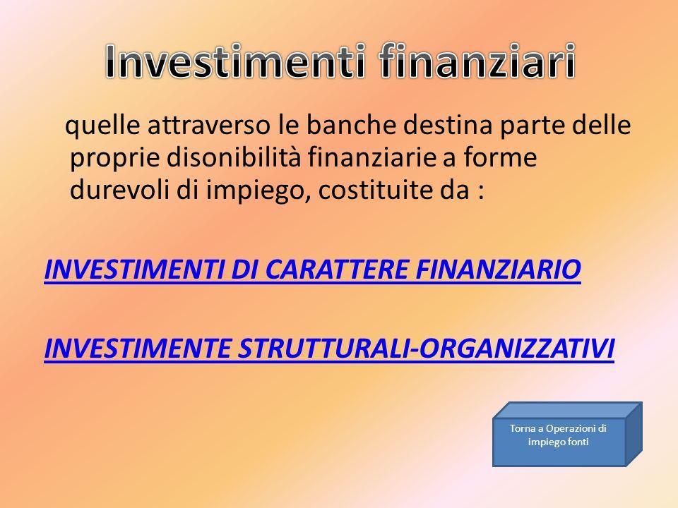 quelle attraverso le banche destina parte delle proprie disonibilità finanziarie a forme durevoli di impiego, costituite da : INVESTIMENTI DI CARATTER