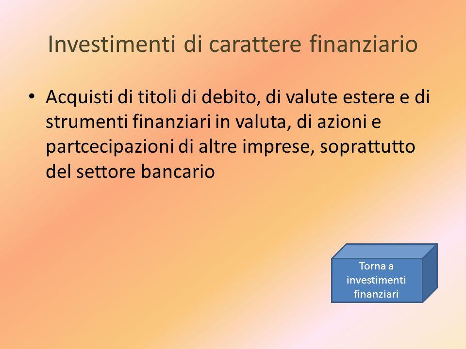 Investimenti di carattere finanziario Acquisti di titoli di debito, di valute estere e di strumenti finanziari in valuta, di azioni e partcecipazioni
