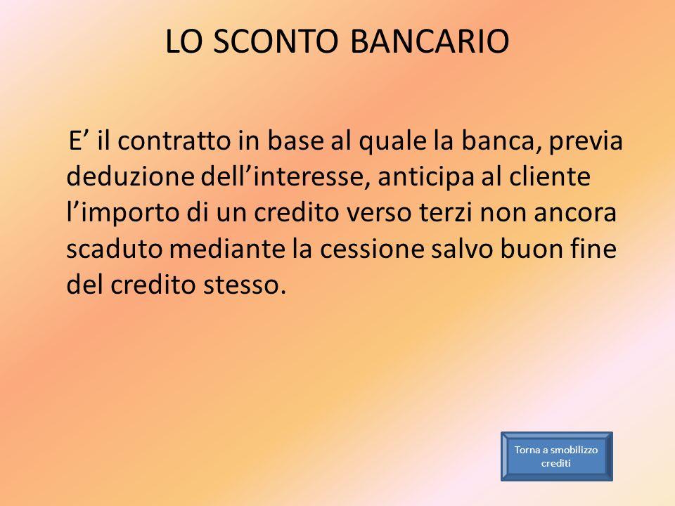 LO SCONTO BANCARIO E il contratto in base al quale la banca, previa deduzione dellinteresse, anticipa al cliente limporto di un credito verso terzi no