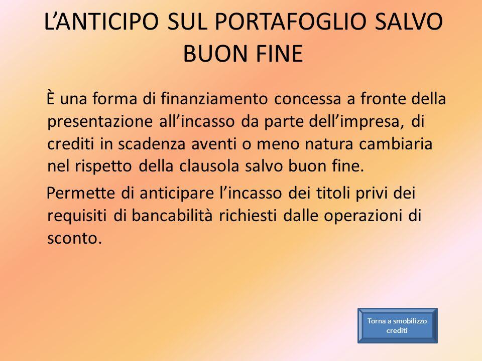 LANTICIPO SUL PORTAFOGLIO SALVO BUON FINE È una forma di finanziamento concessa a fronte della presentazione allincasso da parte dellimpresa, di credi