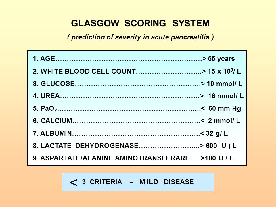 1. AGE……………………………………………………….> 55 years 2. WHITE BLOOD CELL COUNT………………………..> 15 x 10 9 / L 3. GLUCOSE……………………………………………….> 10 mmol/ L 4. UREA…………………………