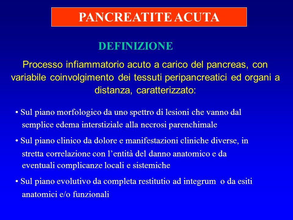 DEFINIZIONE Processo infiammatorio acuto a carico del pancreas, con variabile coinvolgimento dei tessuti peripancreatici ed organi a distanza, caratte