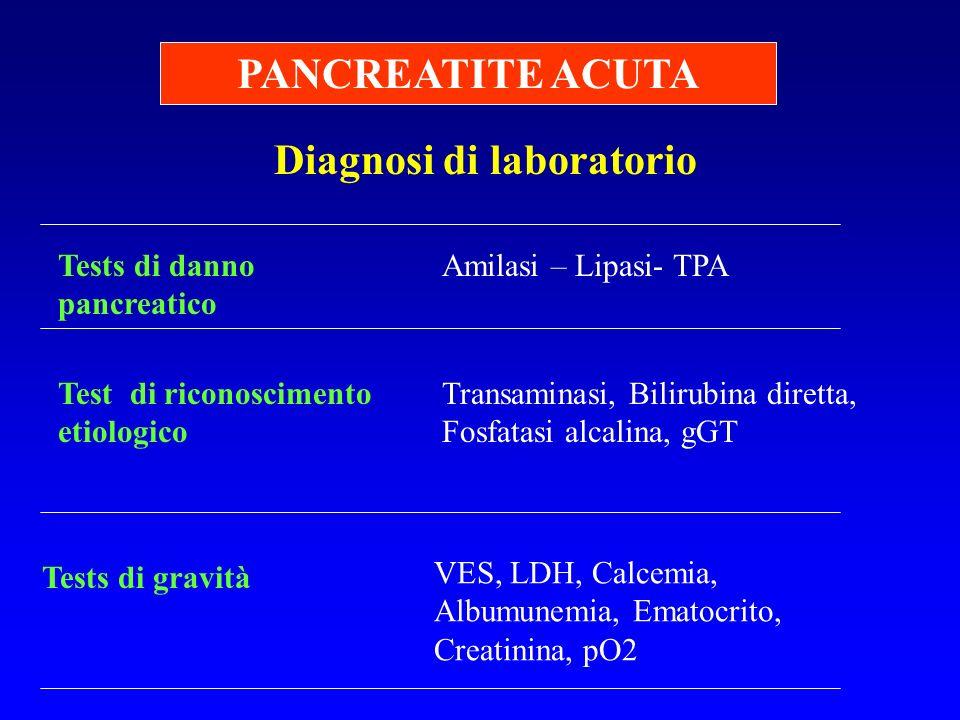 Diagnosi di laboratorio PANCREATITE ACUTA Amilasi – Lipasi- TPATests di danno pancreatico Test di riconoscimento etiologico Tests di gravità VES, LDH,