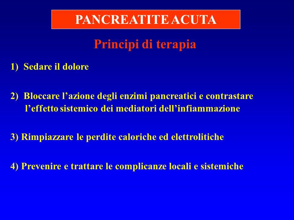 Principi di terapia 1) Sedare il dolore 2) Bloccare lazione degli enzimi pancreatici e contrastare leffetto sistemico dei mediatori dellinfiammazione