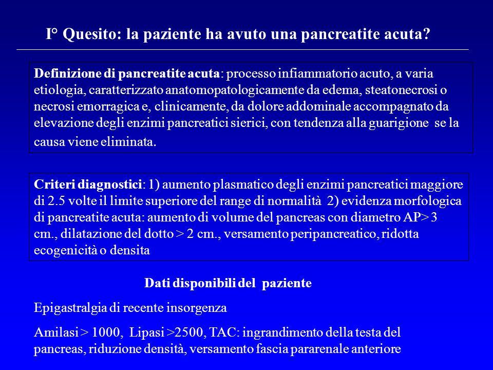 Definizione di pancreatite acuta: processo infiammatorio acuto, a varia etiologia, caratterizzato anatomopatologicamente da edema, steatonecrosi o nec