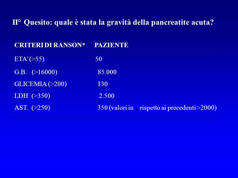 II° Quesito: quale è stata la gravità della pancreatite acuta? CRITERI DI RANSON* PAZIENTE ETA (>55) 50 G.B. (>16000) 85.000 GLICEMIA (>200) 130 LDH (