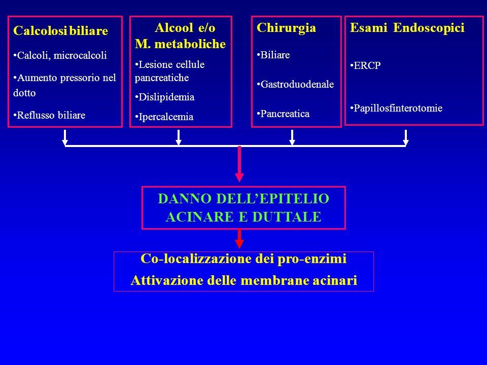 Al momento del ricovero A 48 ore dal ricovero Età >55 anni* HT - 10% >70 anni BUN 20 mg GB >16.000 mm3 Ca < 8 mg% Glicemia >200 mg% PAO2 < 60 mmHg LDH > 400 UI/L DB > - 4mEq/L S-ALT > 250 UI/L Sequestro liquidi > 4L 0-2 punti: pancreatite lieve (letalità 1%) 3-5 punti: pancreatite moderata (letalità 30%9) 6-11 punti: pancreatite grave (letalità fino al 100%) PANCREATITE ACUTA SEVERA: Indice di Gravità RANSON SCORING SYSTEM