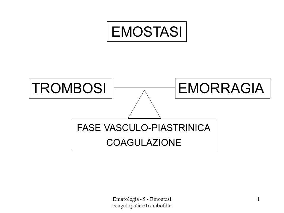 EMOFILIA A LA PIU COMUNE COAGULOPATIA CONGENITA DIFETTO FATTORE VIII TRASMISSIONE X-LINKED, RECESSIVA (MASCHI AMMALATI, FEMMINE PORTATRICI) INCIDENZA: 1 / 5000 MASCHI EMORRAGIE PRINCIPALMENTE ARTICOLARI (EMARTRI) E SOTTOCUTANEE (EMATOMI) DIAGNOSI:PTT ALLUNGATO (VIA ESTRINSECA!) PT NORMALE RIDOTTI LIVELLI FATTORE VIII 32Ematologia - 5 - Emostasi coagulopatie e trombofilia
