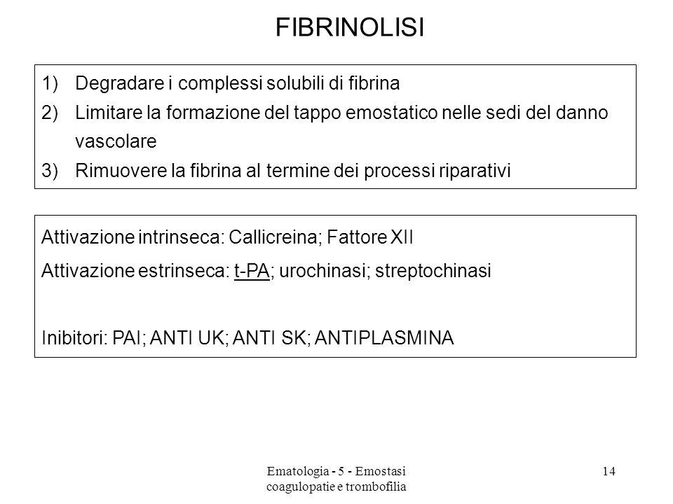 FIBRINOLISI 1)Degradare i complessi solubili di fibrina 2)Limitare la formazione del tappo emostatico nelle sedi del danno vascolare 3)Rimuovere la fi