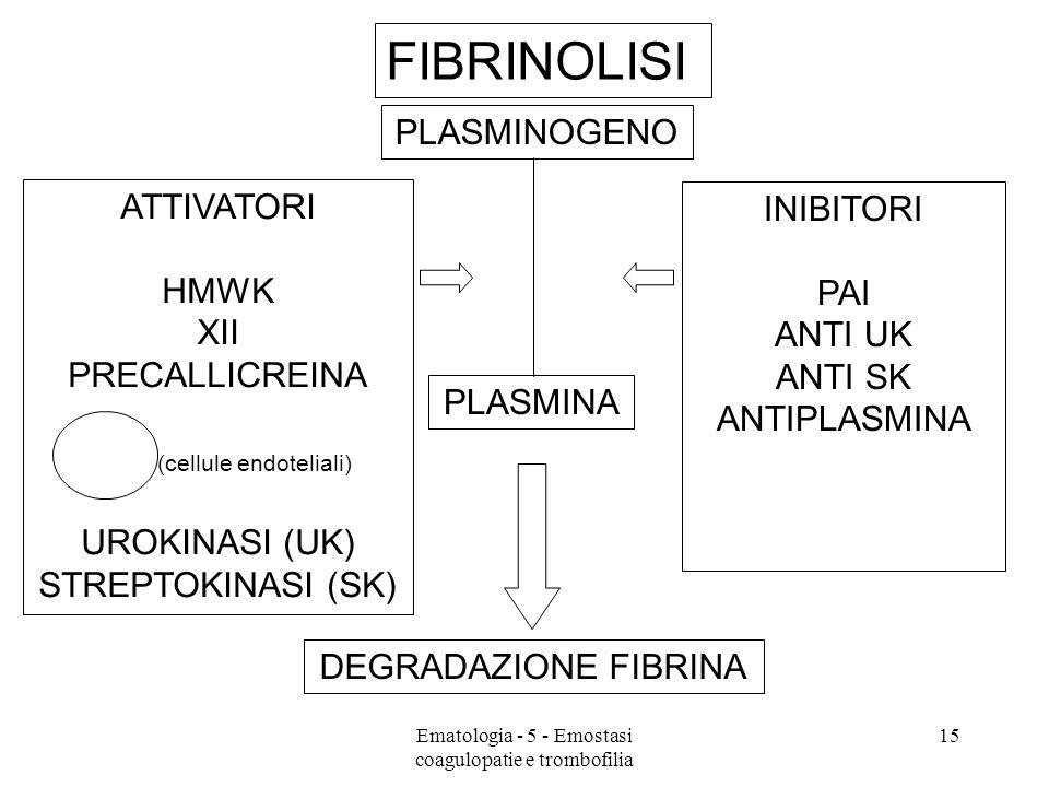 FIBRINOLISI ATTIVATORI HMWK XII PRECALLICREINA t-PA (cellule endoteliali) UROKINASI (UK) STREPTOKINASI (SK) PLASMINOGENO PLASMINA INIBITORI PAI ANTI UK ANTI SK ANTIPLASMINA DEGRADAZIONE FIBRINA 15Ematologia - 5 - Emostasi coagulopatie e trombofilia
