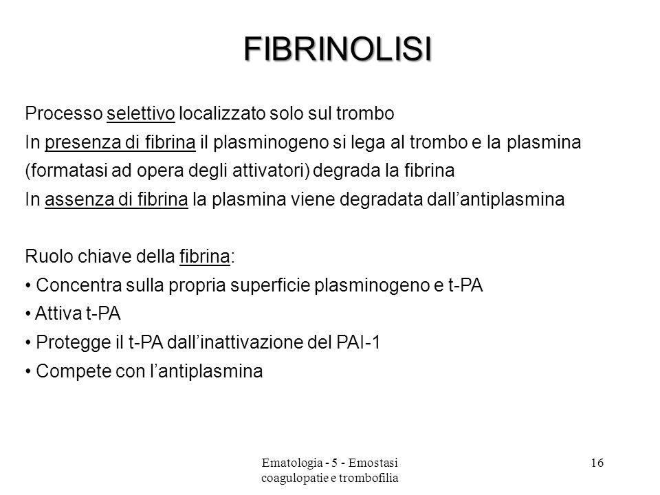 Processo selettivo localizzato solo sul trombo In presenza di fibrina il plasminogeno si lega al trombo e la plasmina (formatasi ad opera degli attiva