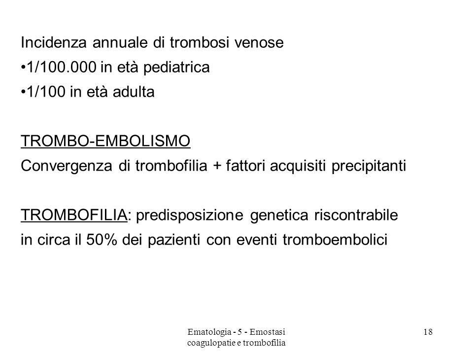 Incidenza annuale di trombosi venose 1/100.000 in età pediatrica 1/100 in età adulta TROMBO-EMBOLISMO Convergenza di trombofilia + fattori acquisiti precipitanti TROMBOFILIA: predisposizione genetica riscontrabile in circa il 50% dei pazienti con eventi tromboembolici 18Ematologia - 5 - Emostasi coagulopatie e trombofilia